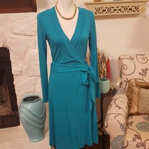 BANANA REPUBLIC BLUE WRAP DRESS SIZE XS